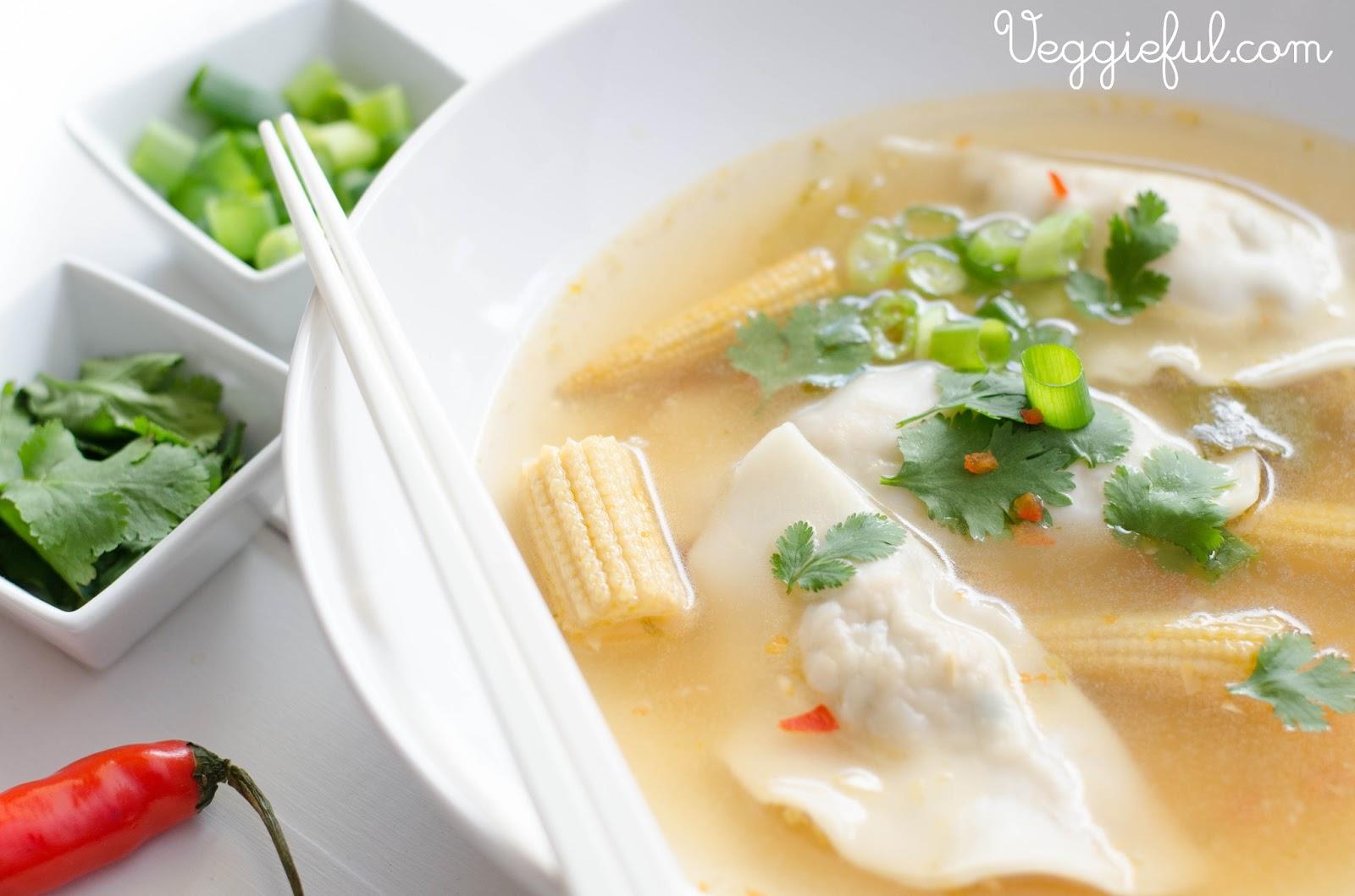 VeggiefulVegan Asian Dumpling Soup Recipe