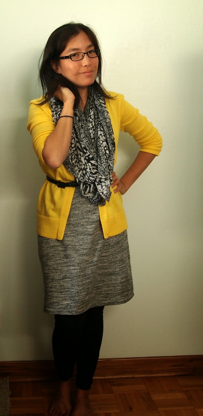 yellow cardigan animal print scarf gray dress teacher style