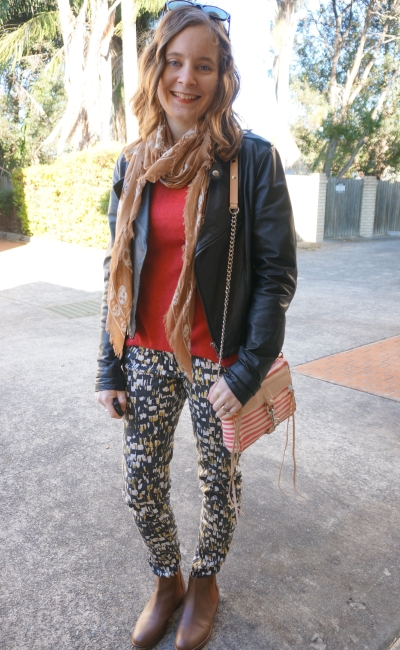 Sass and Bide Printed skinny jeans tan ankle boots skull scarf red jumper leather jacket