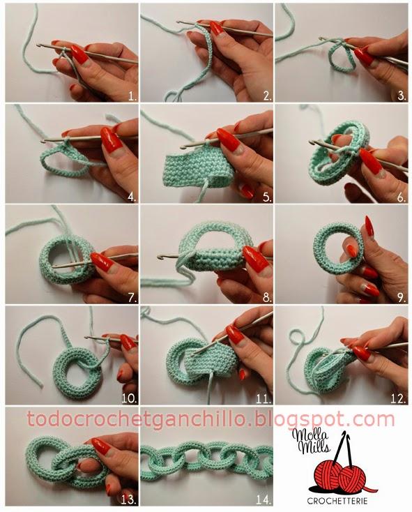 Paso a paso de manualidad: cadena al crochet