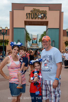 Lisa, Jackson, Bellla and James wearing red, white and blue at Disney's Hollywood Studios for the 4th of July