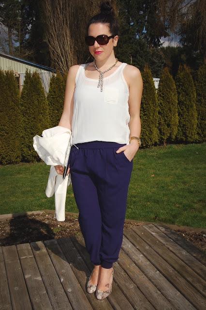 Joie jogging pants, Club Monaco silk tank, Zara lambskin jacket, Ela clutch.