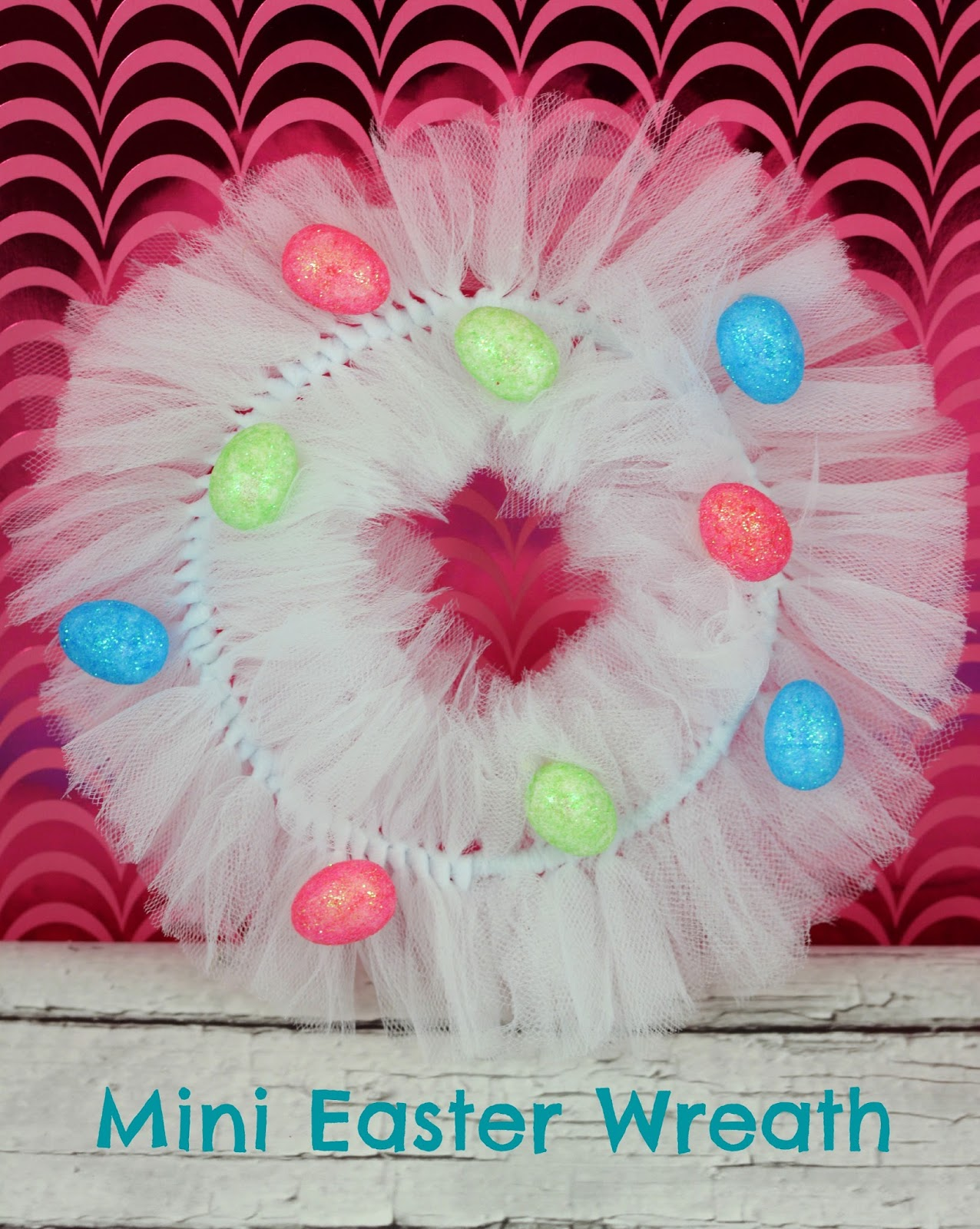 Mini #Spring Tulle #Wreath #DIY #crafts #Easter
