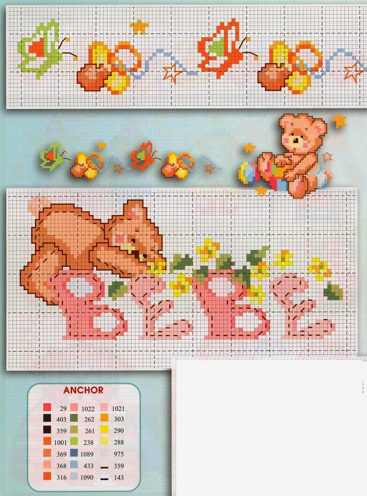Grande raccolta di schemi e grafici per punto croce free for Neonati da colorare e stampare