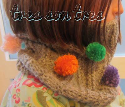 knit, cuello, pom-pom, dos agujas, niños, cowl,