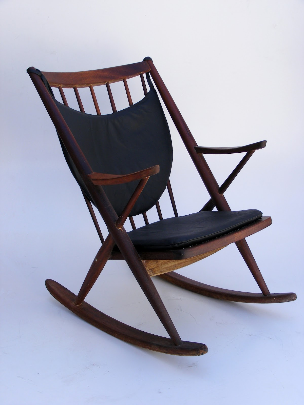 Frank reenskaug rocking chair - Frank Reenskaug Model 182 Rocking Chair With Leather Cushions Chair Manufactured By Bramin M Bler Denmark In1958