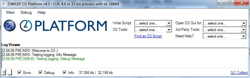O2 Platform main GUI