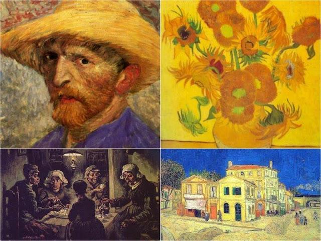 Cuadros Los comedores de patatas, Autorretrato con sombrero de paja, La casa amarilla, Jarron con quince girasoles en el Museo Van Gogh de Amsterdam