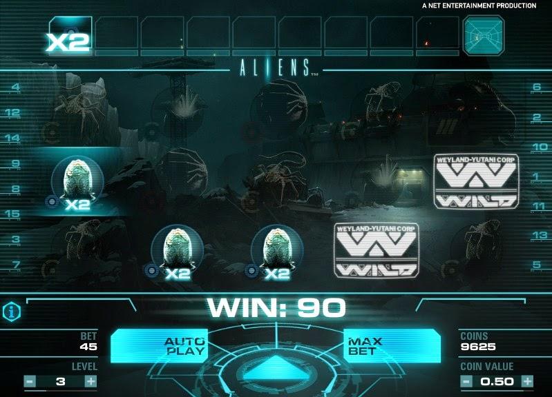 Aliens Video Slot Screen