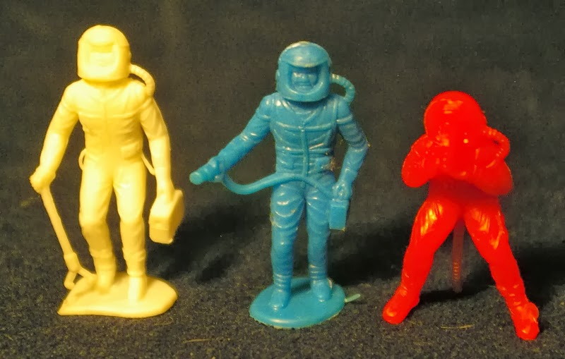 Red Plastic MPC Astronaut with Walkie Talkie