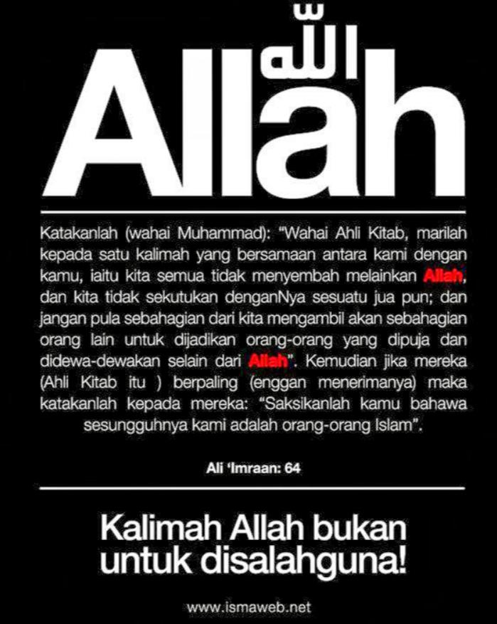 Larangan Kalimah Allah Dipertikai Islam Sendiri
