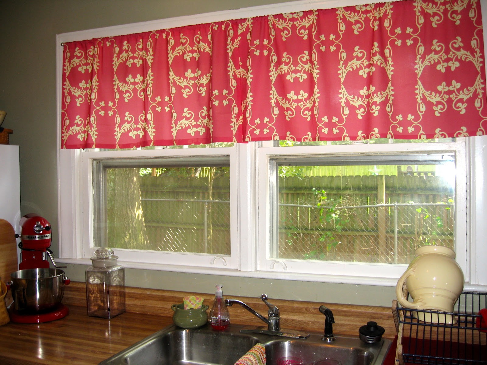 Kitchen Window Curtain Idea in red floral pattern
