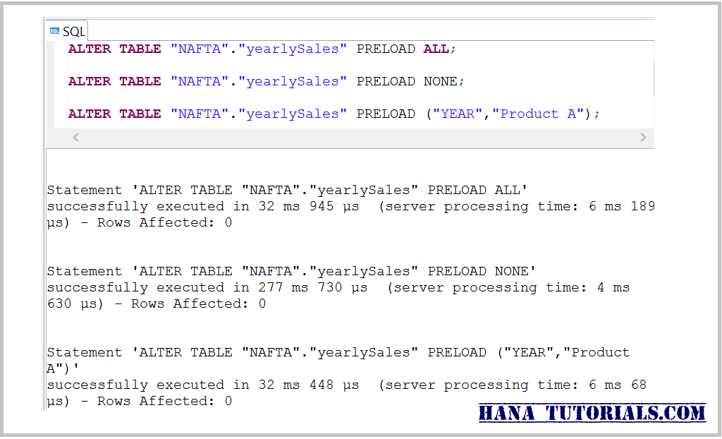 HANA Pre-loading table