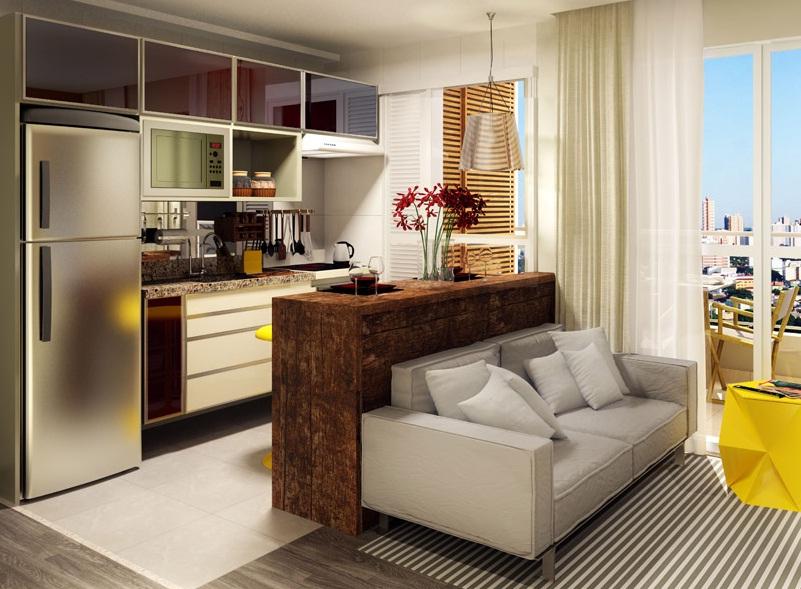 Tipos de cozinha americana 15 fotos e medidas para for Sala cocina pequena