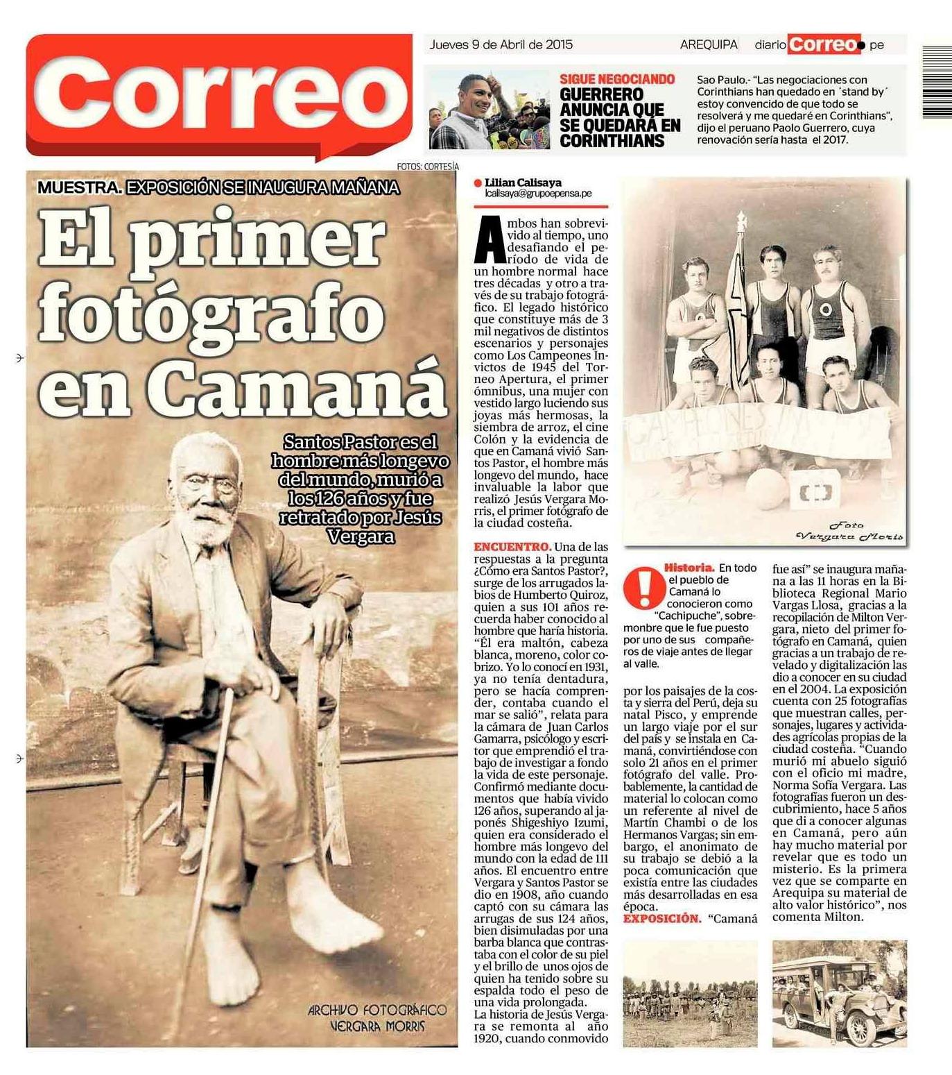 Diario Correo, 09 de abril 2015. Contraportada