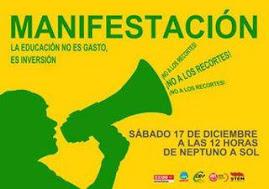 """17 Dic.2011 Manifestación """"La educación no es gasto es inversión"""""""