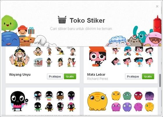 Toko Stiker Facebook Untuk Memilih Animasi Chat