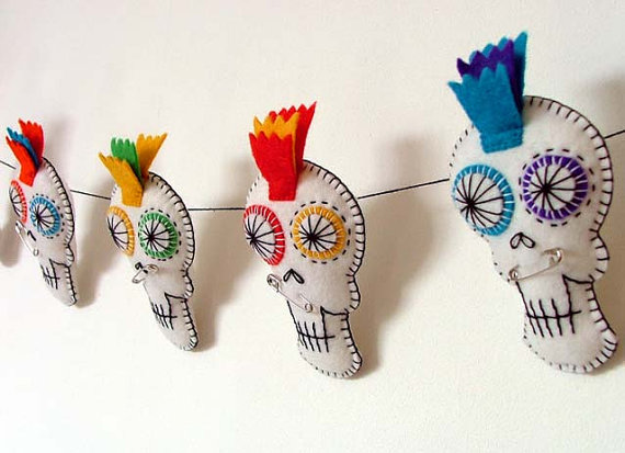 as i already said i am getting more and more obsessed with day of the dead sugar skulls so i looked around a lot for halloween decorations in that style - Etsy Halloween Decorations
