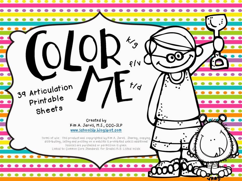 School Slp Color Me Articulation Speech Sound Coloring Sheets