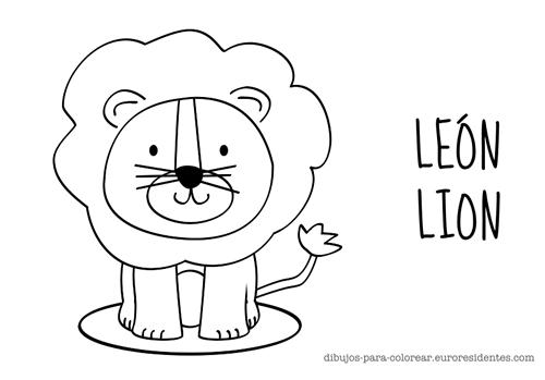 colorear león infantil