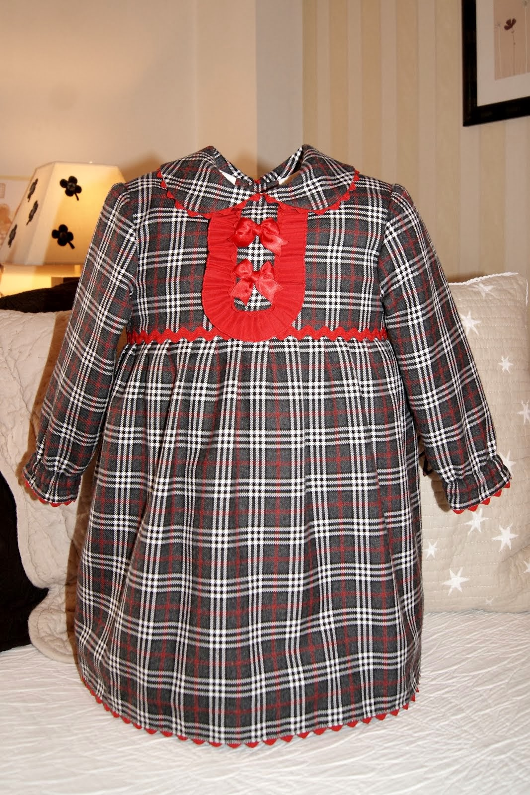Vestido cuadros escoceses gris marengo