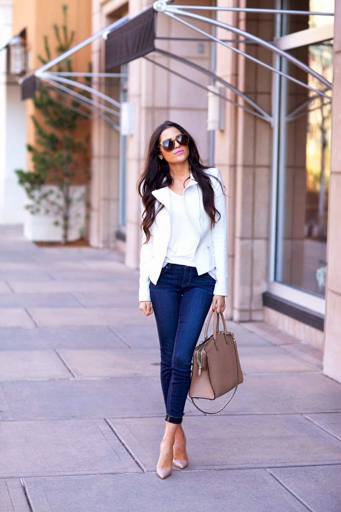 white jacket with outfit Jeans