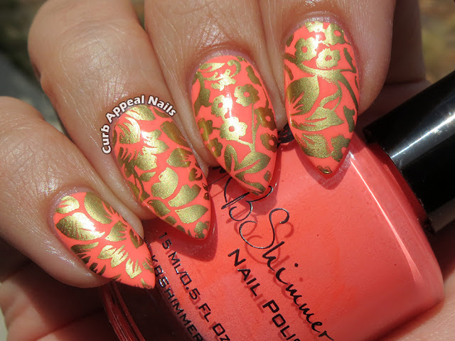 KBShimmer Bahama Drama with Mundo De Unas Gold Floral Stamping