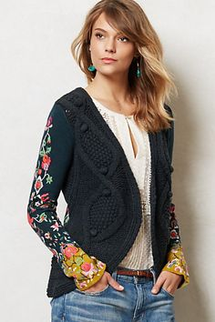 Anthropologie embroidered sweater LOVE