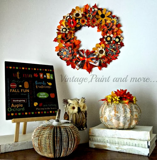 Fall Paper Crafting, fall paper wreath, pumpkins, book pumpkins, fall printable