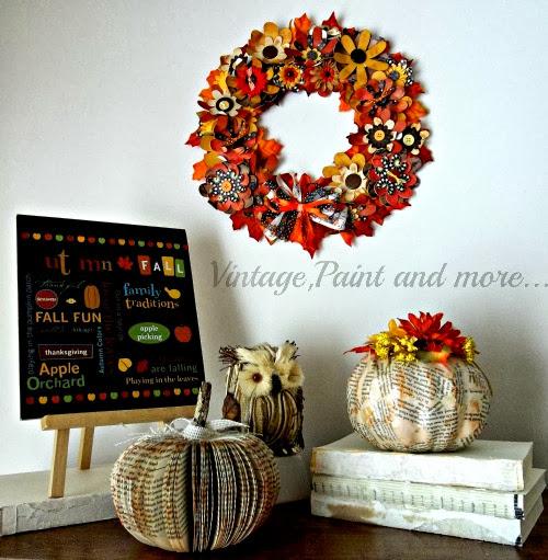 Fall Paper Crafting, fall paper wreath, pumpkins, book pumpkins, fall printable