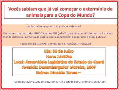 Banner informativo sobre audincia pblica para discutir situao dos gatos do Parque do Coc