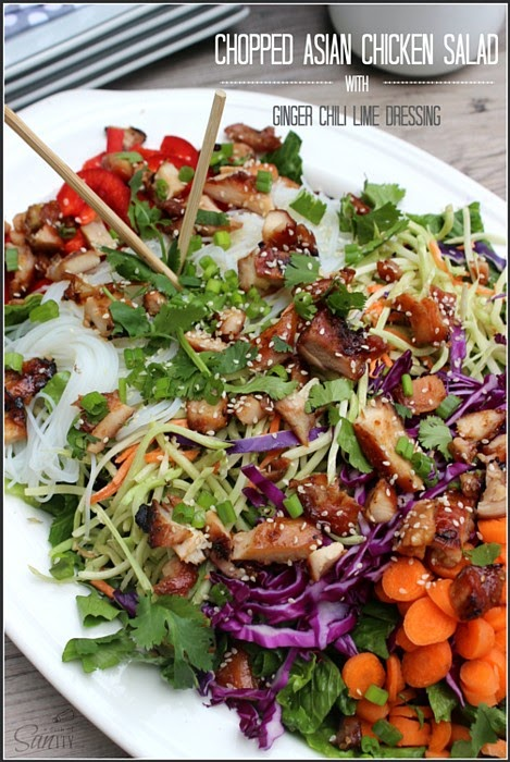 Chopped Asian Chicken Salad w/ Ginger Chili Lime Dressing @ A Dash of Sanity