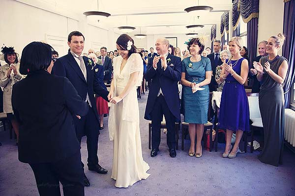 proud bride after ceremony at Marylebone Town hall wedding