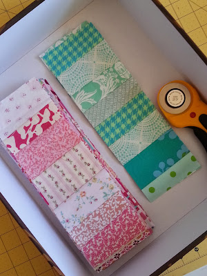 Pink and Turquoise Fabric scrap strips