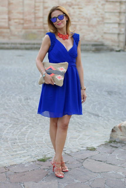 Royal blue chiffon dress, Oakley mirror sunglasses, elegant summer outfit, Fashion and Cookies