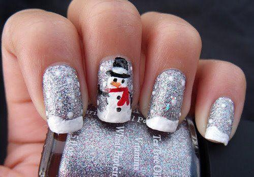 Unhas decoradas com bonecos de neve