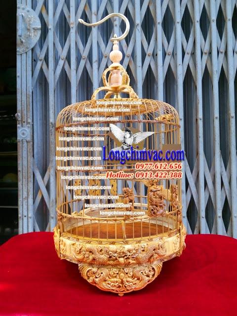 Lồng chim yến tra già đục song long trầu nguyệt Y004