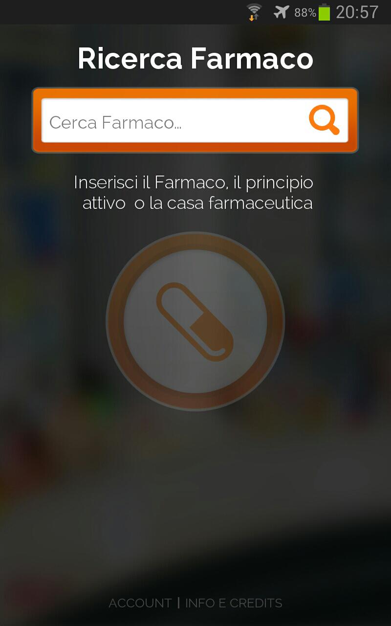 schermata in cui effettuare ricerca del farmaco in pharmawizard
