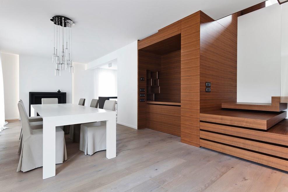 Muebles a medida en madera de zebrano espacios en madera for Cocina sala y comedor un solo ambiente