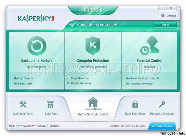 Kaspersky PURE 2 0 Total Security Kaspersky PURE 2.0 Total Security bản quyền 6 tháng miễn phí