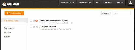 Blogger: Formulario de contacto en una página, JotForm, formularios