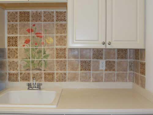audrey 39 s artistic design faux tile painted backsplash