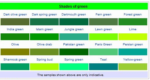 shades of green color chart