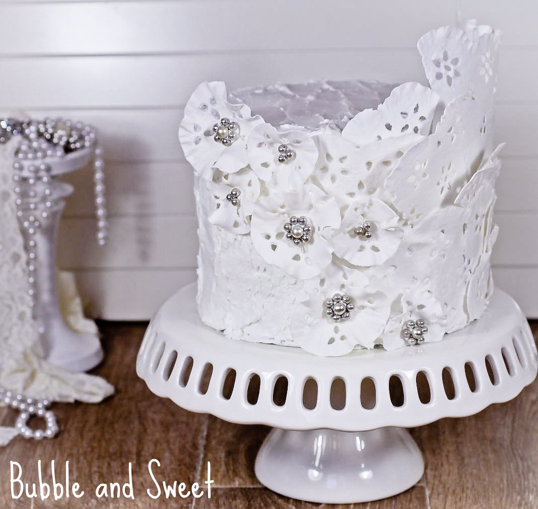 Bubble and Sweet: Sweet Memories royal icing and lace cake