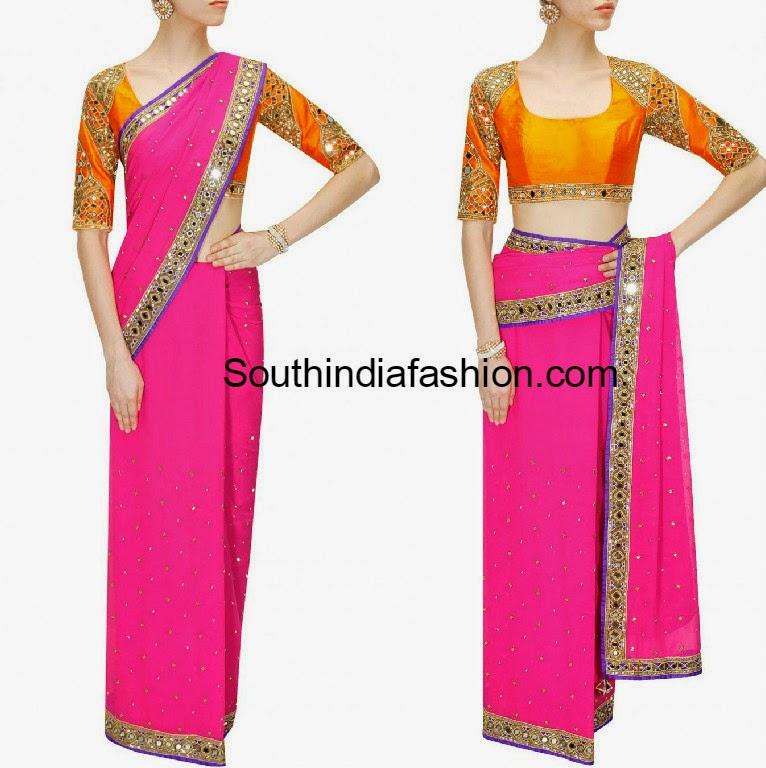 mirror work saree and blouse