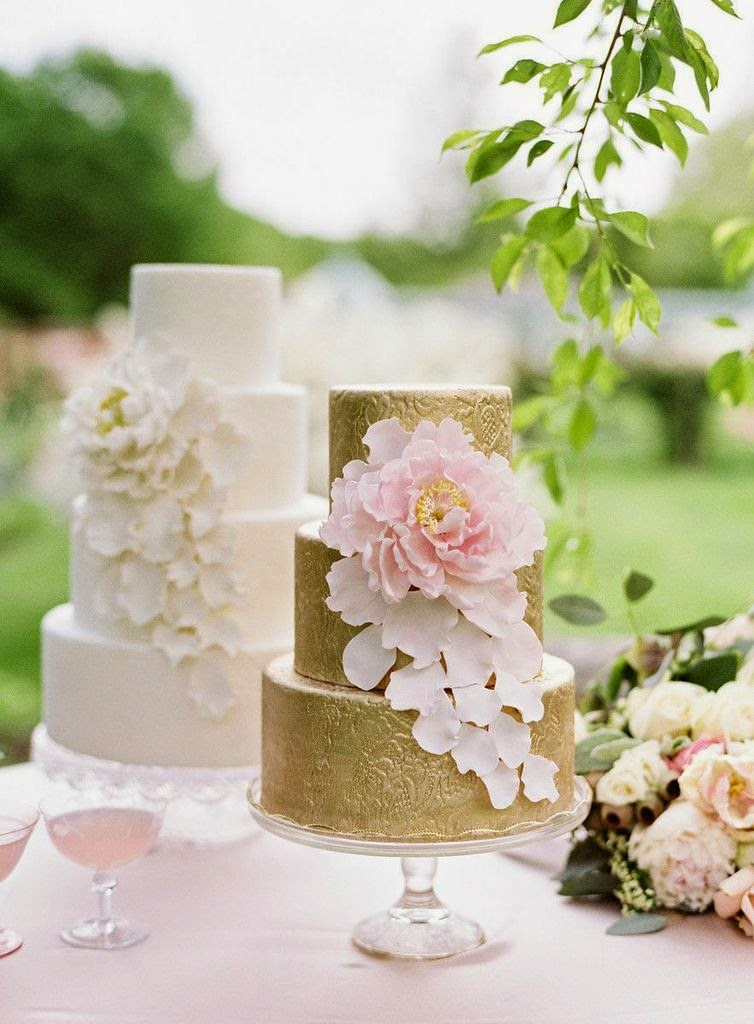 gold & blush wedding cake with sugar peony