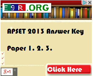 APSET 2013 Final Answer Key Download at www.apset.org
