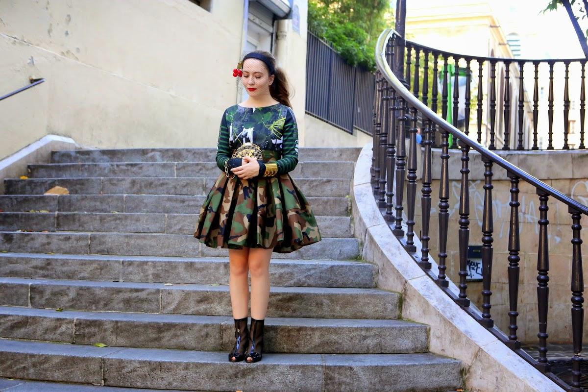 Camo skirt and cherries headband