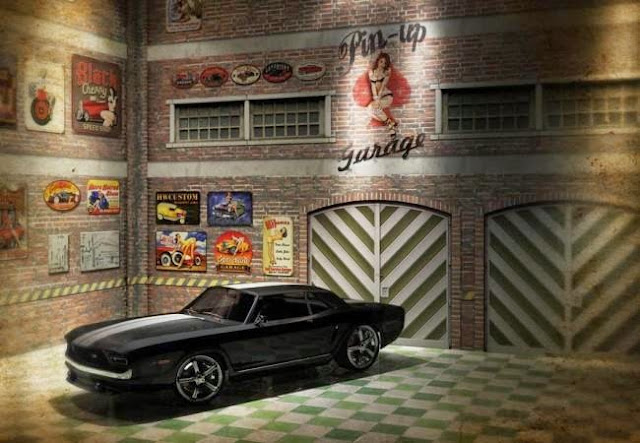 photo about Diorama Backgrounds Free Printable referred to as PAPERMAU: Pin Up Garage Diorama Paper Design and style In just 1/64 Scale