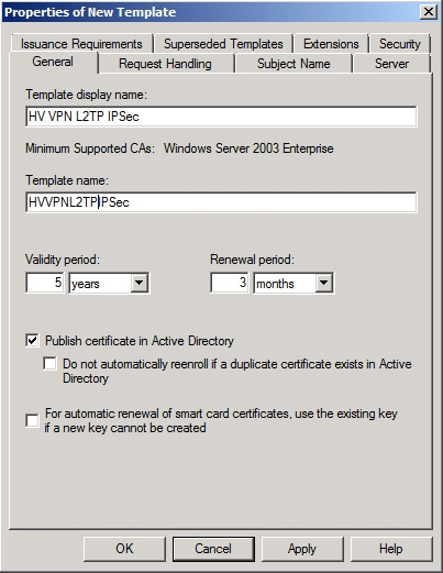 Ariess sysadmin blog create l2tpipsec certificate for tmg 2010 on the general page type hv vpn l2tp ipsec 2 in the template display name 4 you might change the validity period to 5 years or longer yadclub Choice Image